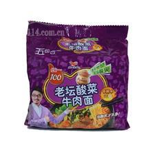 统一100老坛酸菜面香辣味121g五连包