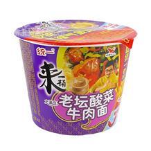 统一来一桶老坛酸菜牛肉桶面香辣味120g