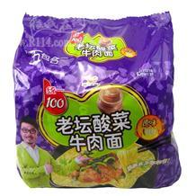 统一100老坛酸菜面原味121g五连包